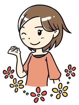 승리의 포즈 여자 꽃