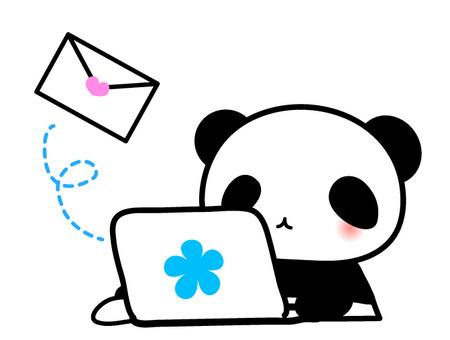 Panda-chan sending a personal computer · mail