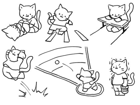 [Black and white] Cat undergoing physical fitness test [Line drawing]