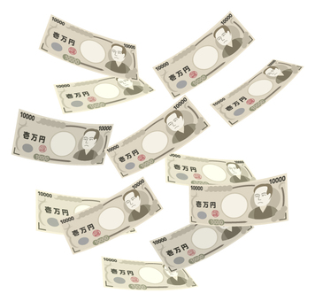 Falling down one million yen bill