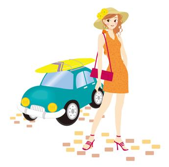 여성과 파란색 자동차