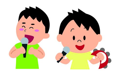 Boy playing karaoke