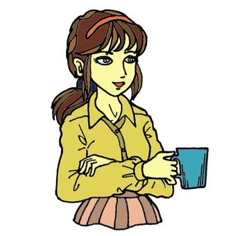 컵을 가진 카야