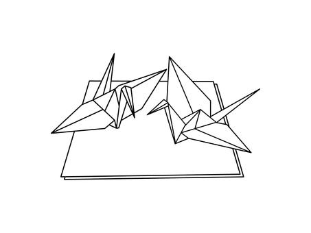 Folded paper crane monochrome
