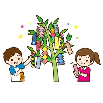 Tanabata children decorating