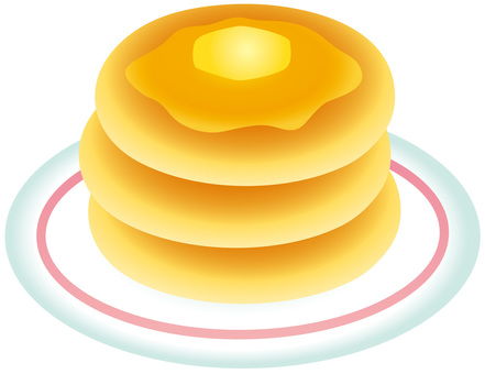 Three-tiered hot cake with syrup