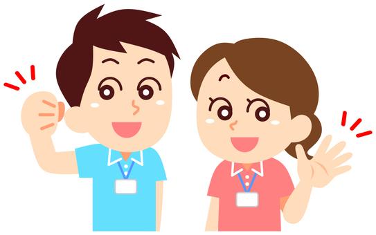 Caregiver helper man and woman