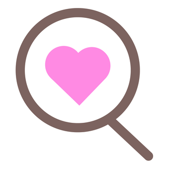 Icon magnifying glass and pink heart