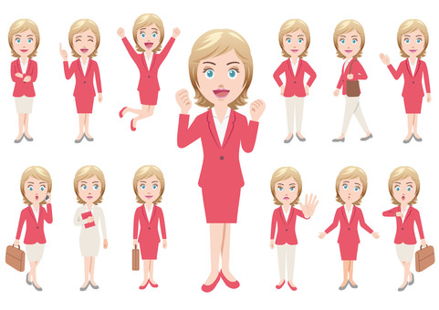 Business woman illustration set