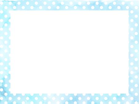 Watercolor dot 2 rectangular frame light blue