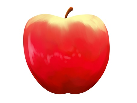 Watercolor style apple material