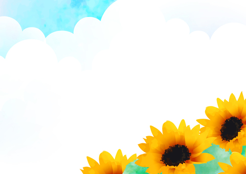 Summer sky and sunflower frame