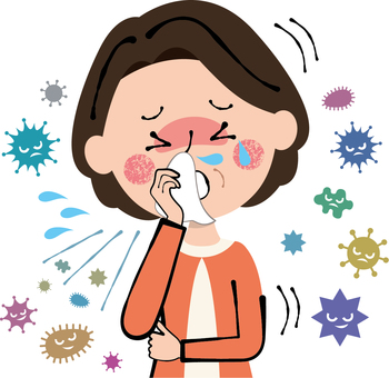 Sneezing cold coughing fever runny rhinitis middle age woman