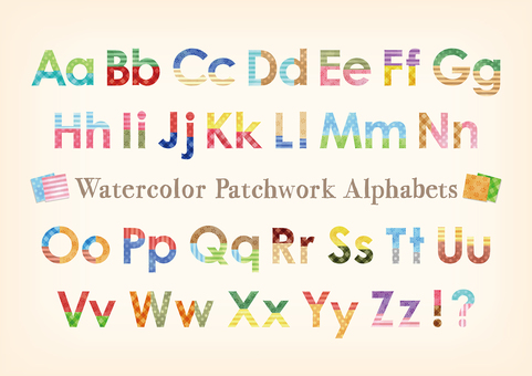Watercolor touch patchwork pattern Alphabet