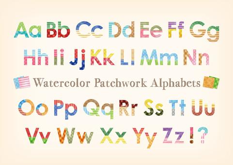 水彩觸摸拼布模式字母表