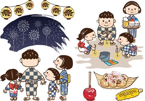 家族で花火大会