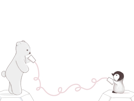 Polar bear and penguin doing threading
