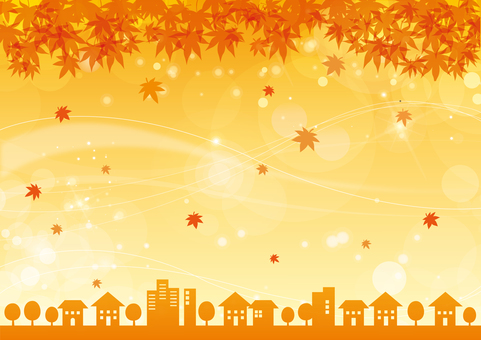 Sparkling background material Autumn leaves Autumn skyline