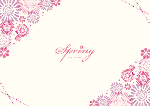 Spring background frame 051 Flower watercolor