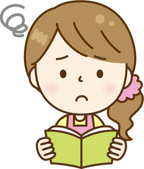 Apron woman reading C: Pink