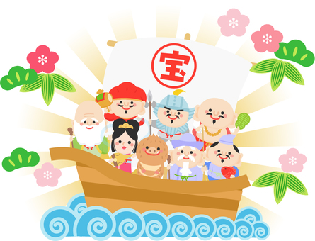 The worship ship of the wild boar and seven lucky gods
