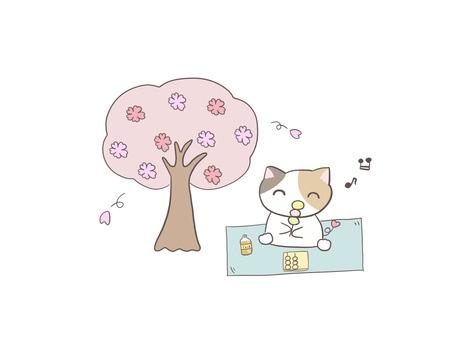 꽃놀이하는 삼색 털 고양이