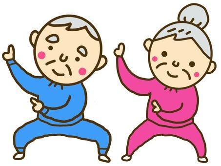 Grandfather who dances dancing grandmother