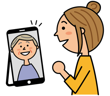 A woman who goes home online with a smartphone