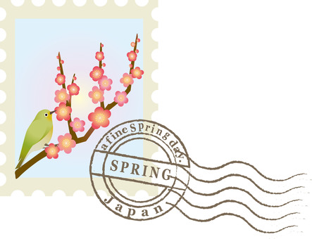 Stamp stamp plum blossoms and birds