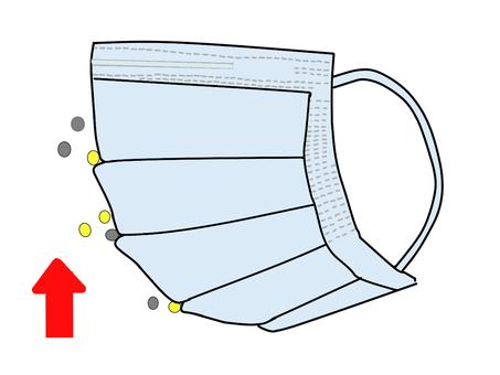 Pleated mask (horizontal) reverse blue