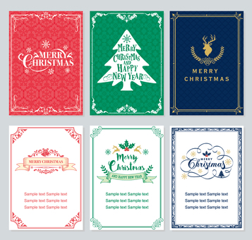 6 kinds Christmas card set