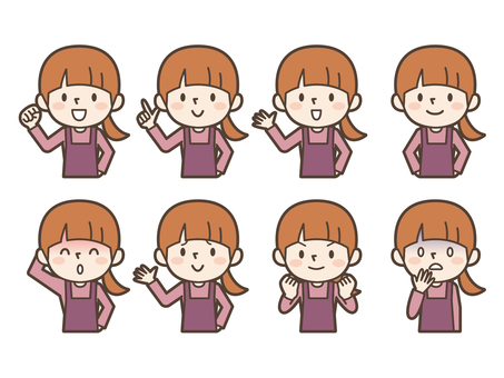 Young housewife expression set