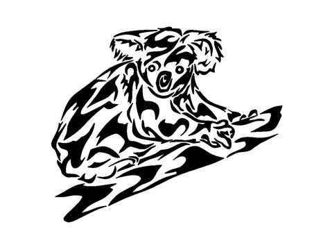 흑백 아트 부족 코알라