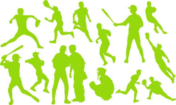 Baseball player _ silhouette _ set _ 02 _ green