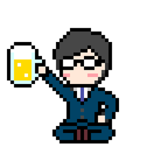Businessman beer toasting while sitting