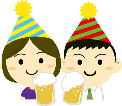 A couple drinking beer at a party