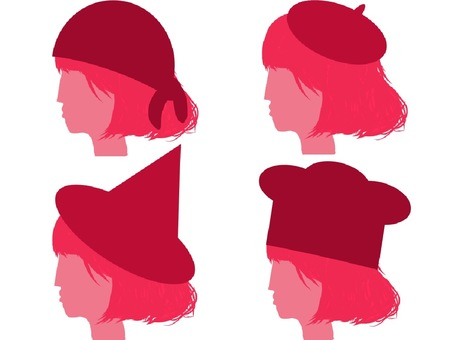 A woman wearing a hat silhouette set 2