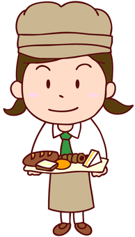 Illustration of a lady clerk at a bakery