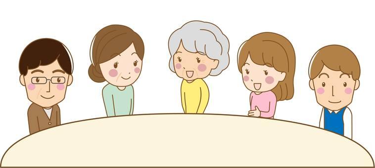 Illustration of 3 generations family