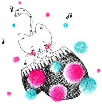 Cat playing the piano - Polka dots