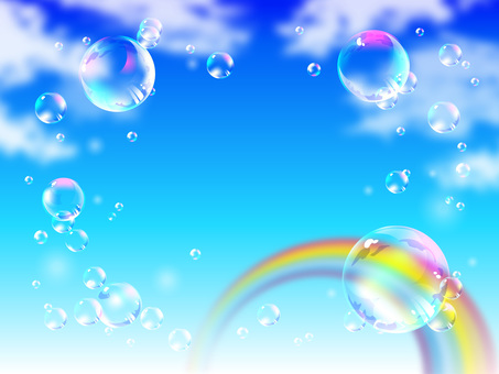 Soap bubbles floating in the blue sky and rainbow 03