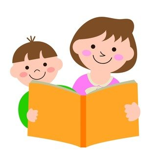 Mother and child reading a book