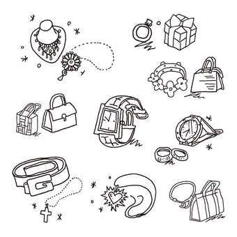 Drawing illustrations of women's accessories