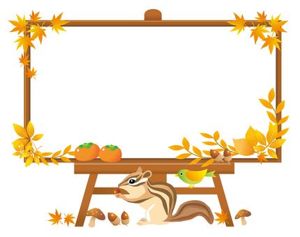 秋の掲示板と動物たち