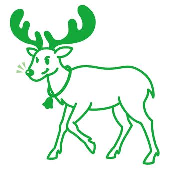 Reindeer _ line drawing _ green