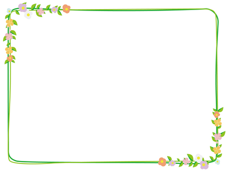 Flower and green decorative frame