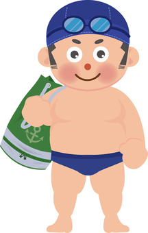 Boy with swimming bag