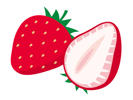 Simple fruit strawberry (cross section)