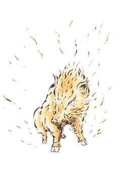 動物-イノシシ(彩色)