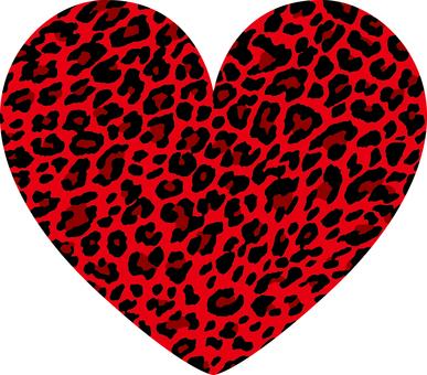 Heart_ leopard pattern_ red